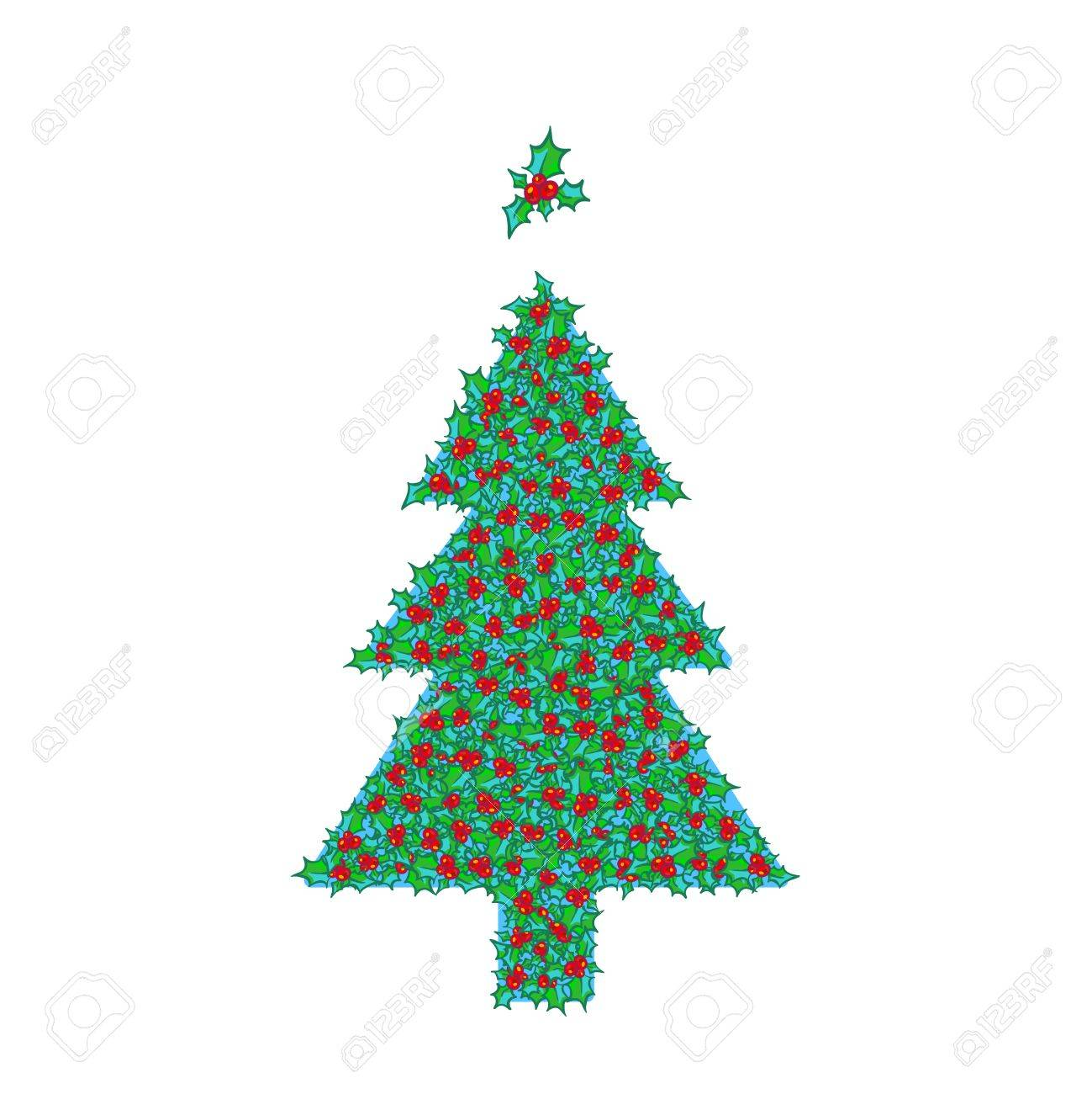 Holly Christmas Tree With Tree Topper Ornament Vector Hand Drawn