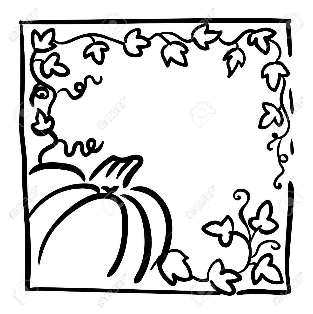 Kürbis, Ranken Und Großen Gelappten Blättern. Gruß Oder
