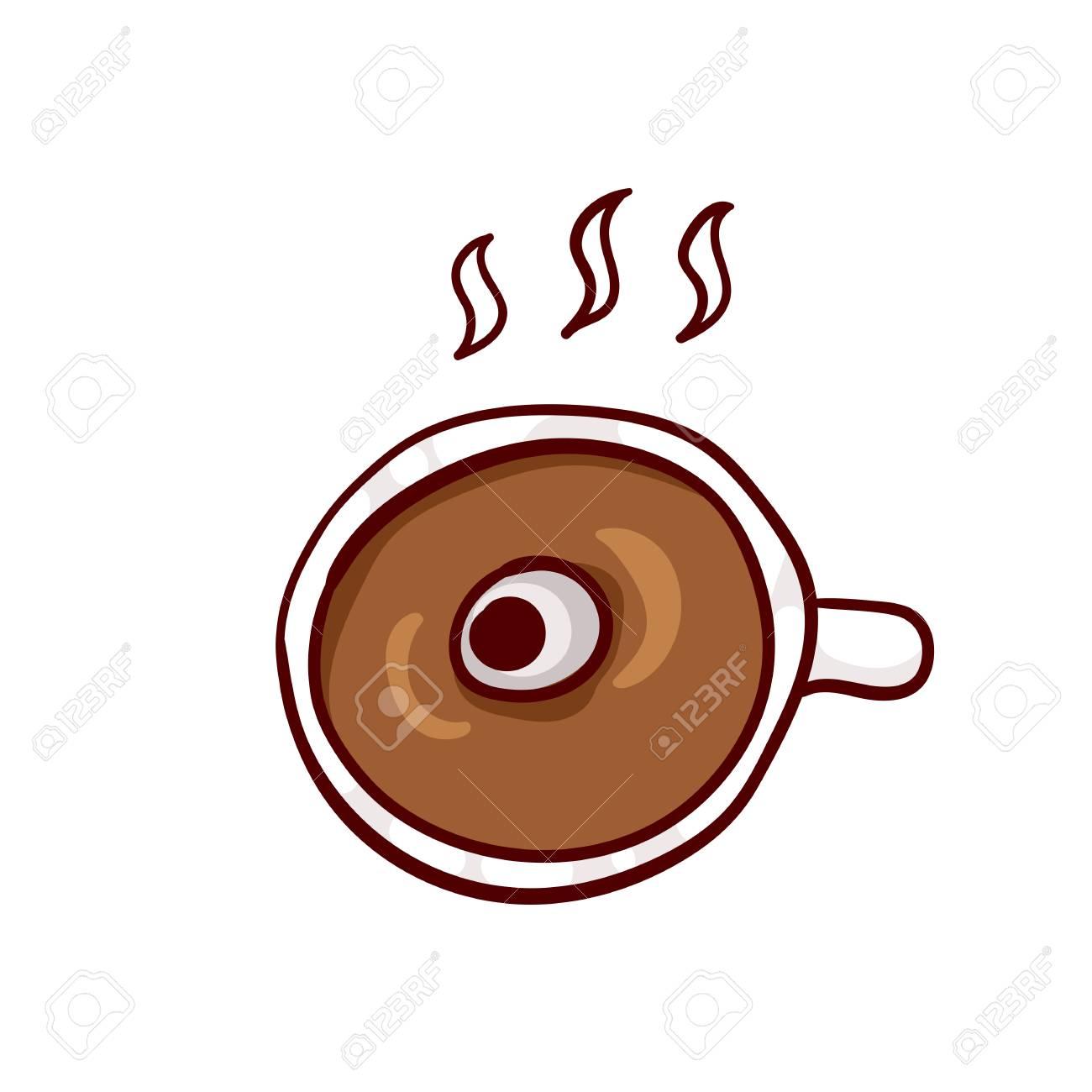 Taza De Café Caliente Con Globo Ocular Halloween Del Almuerzo Clip Art Aislado En Blanco Dibujado A Mano Icono Incompleto Elemento De Diseño De