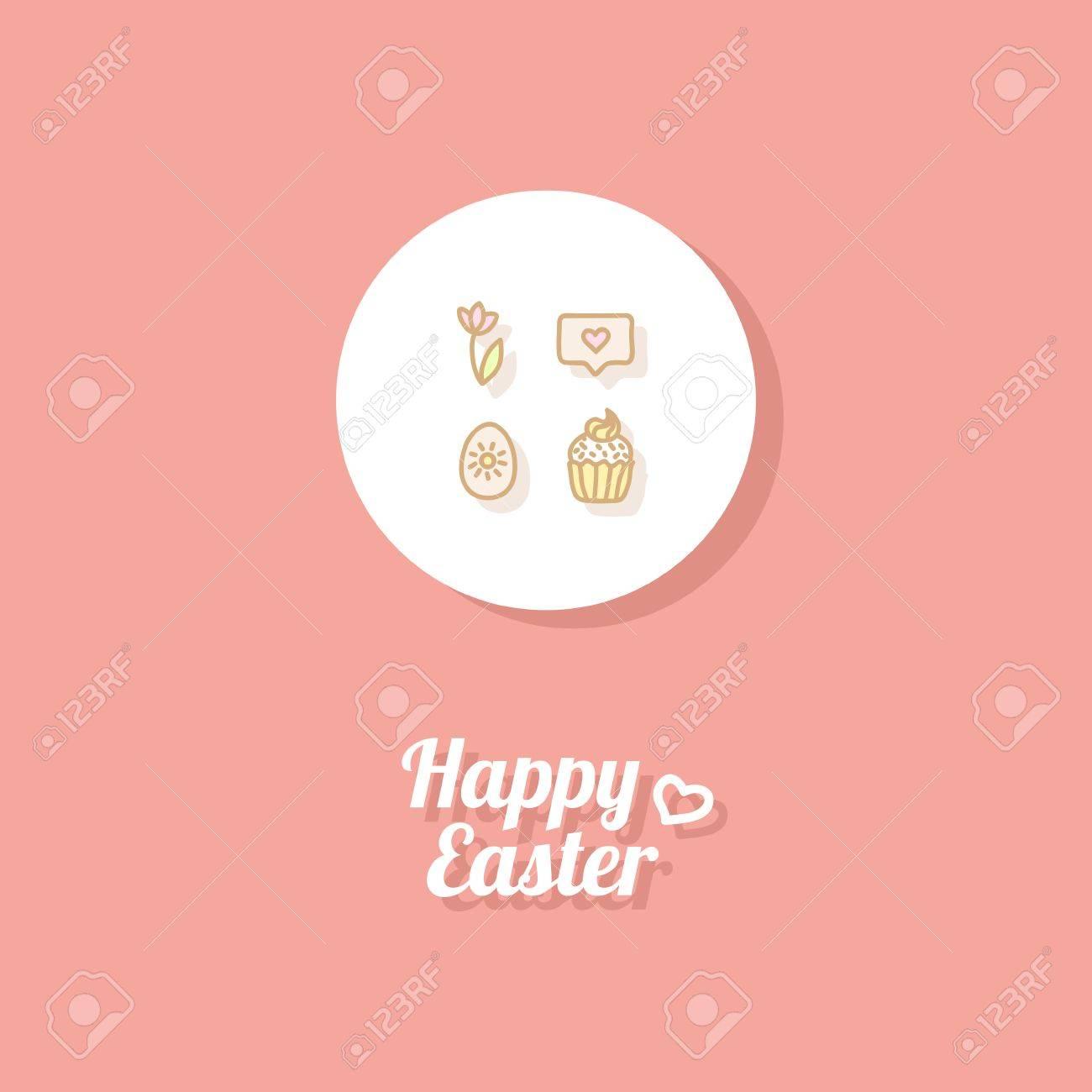 Frohe Ostern. Grußkarte Oder Banner Vorlage Mit Hand Gezeichneten Ei ...