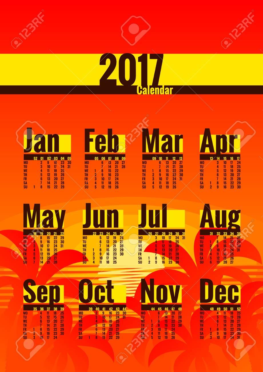 Calendrier Avec Numero Des Semaines.Modele De Calendrier Pour L Annee 2017 La Semaine Commence Le Lundi Calendrier Avec Numeros De Semaine Annee Sur Une Page Adapte Pour Poster Ou