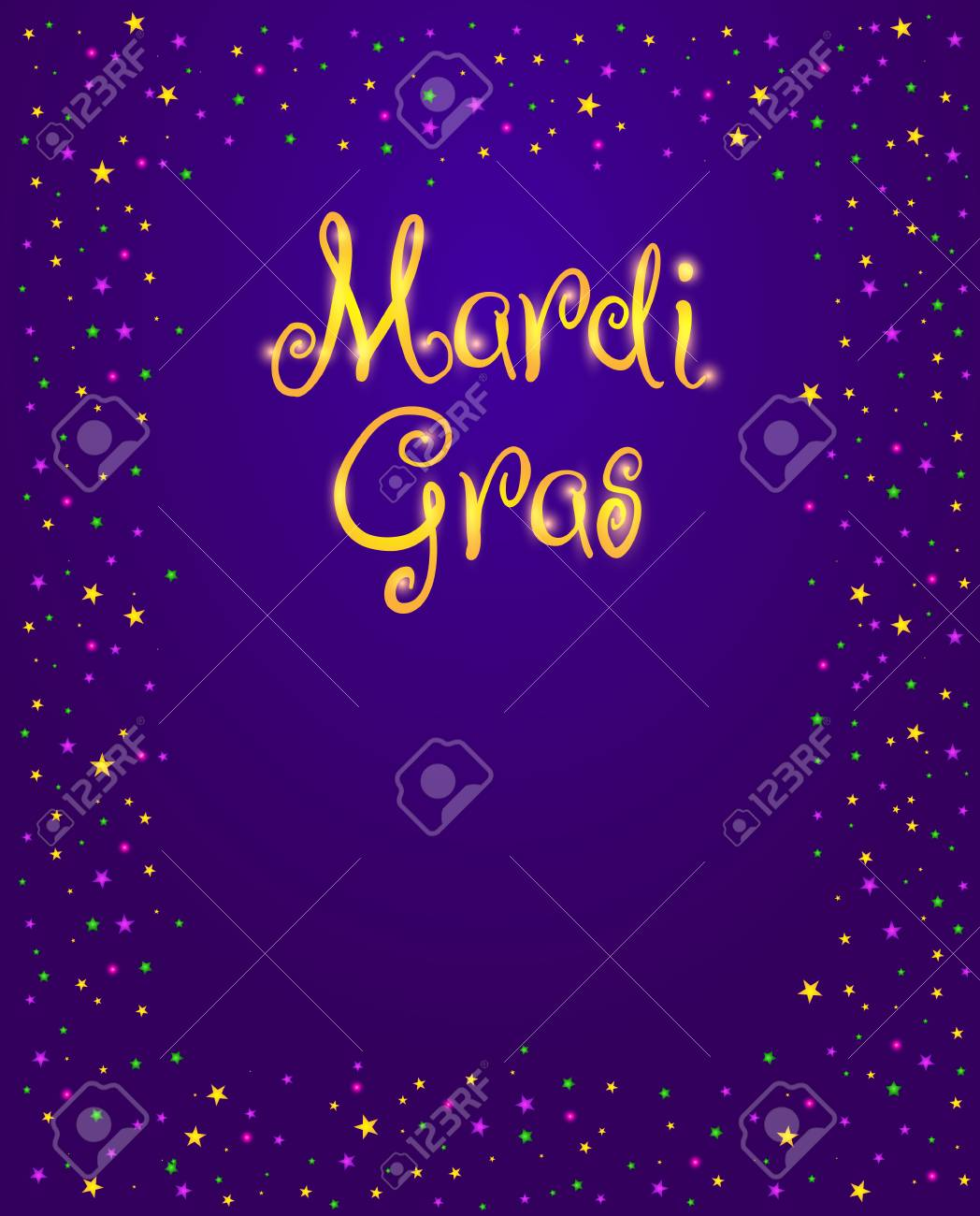 Mardi Gras vector design element, Fat Tusday poster or party invitation template. Frame of shining stars and beads on purple background - 69933601