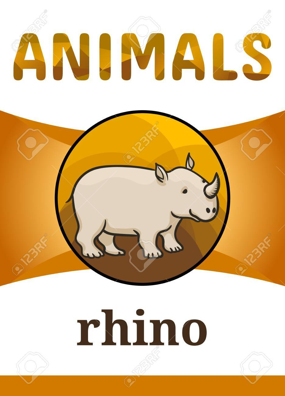 photograph regarding Rhino Printable referred to as Printable animal flash card, vector instance. Appropriate for..
