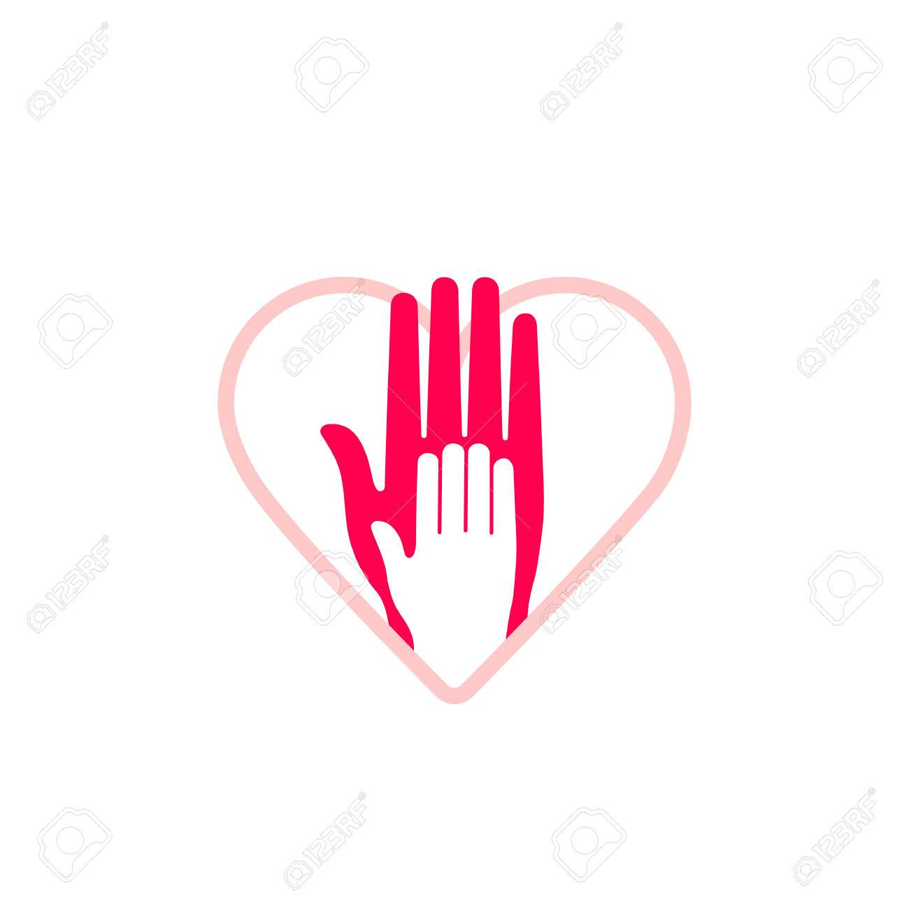 Vector Design Element Hand Of Child Lying On Womans Hand Symbol