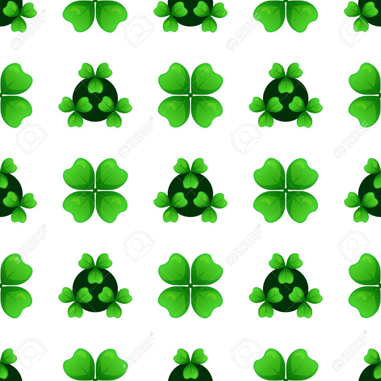Green Clover Sprigs With Four Leaves And Three Leafed Shamrock