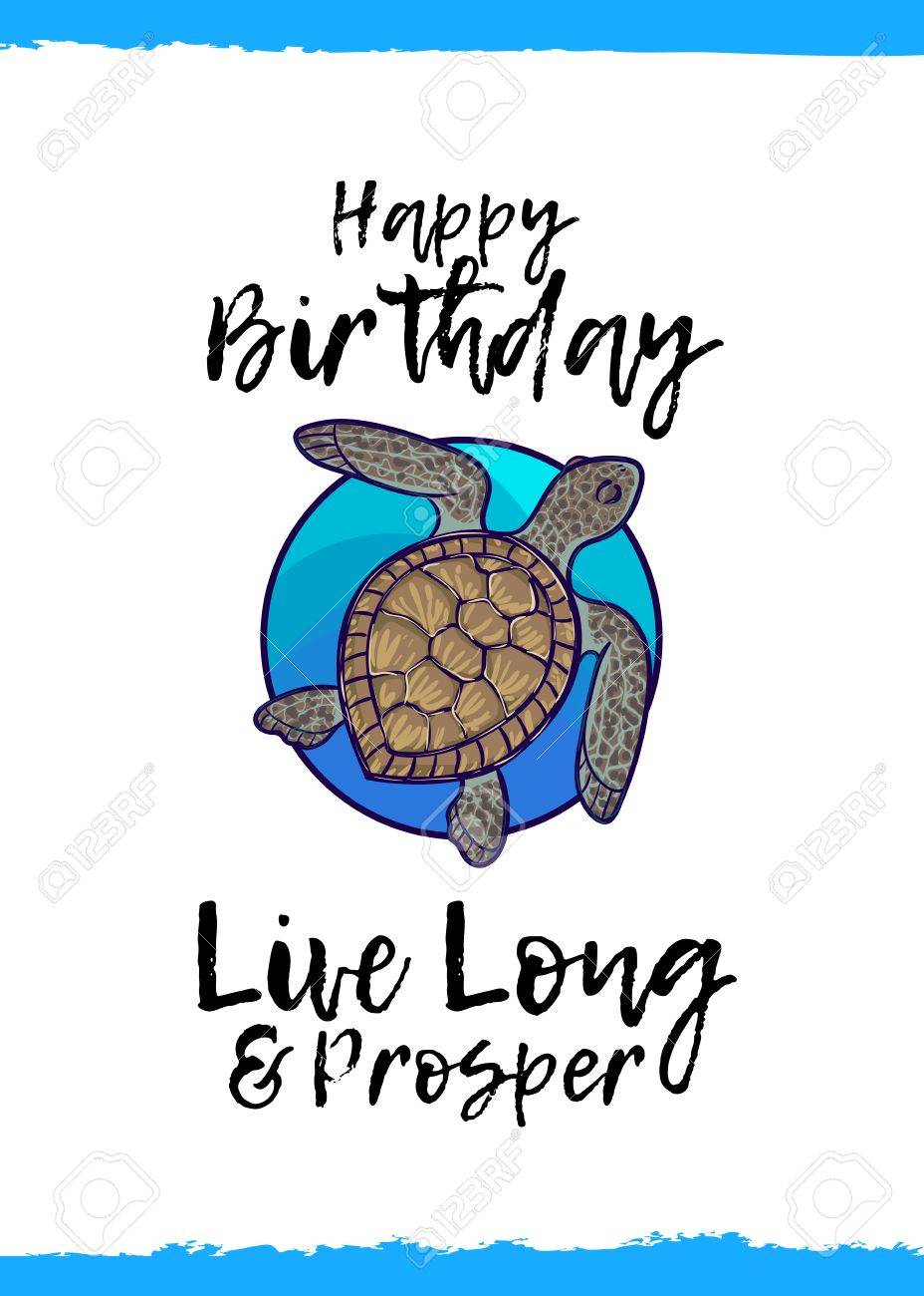 Happy Birthday Live Long And Prosper Greeting Card With A Cute Animal Kind