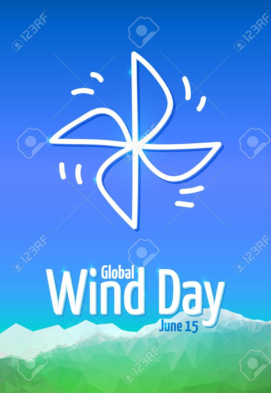Global Wind Day 2017 June 15 Poster With Pinwheel Symbol Of