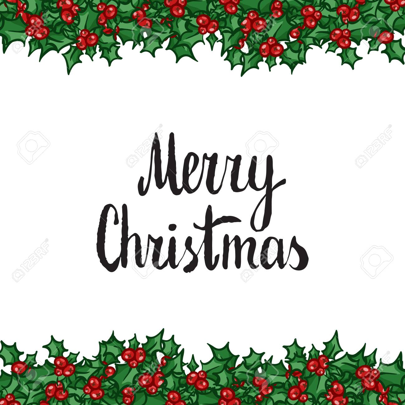 Merry Christmas Clip Art.Merry Christmas Lettering With Holly Hand Drawn Design Element