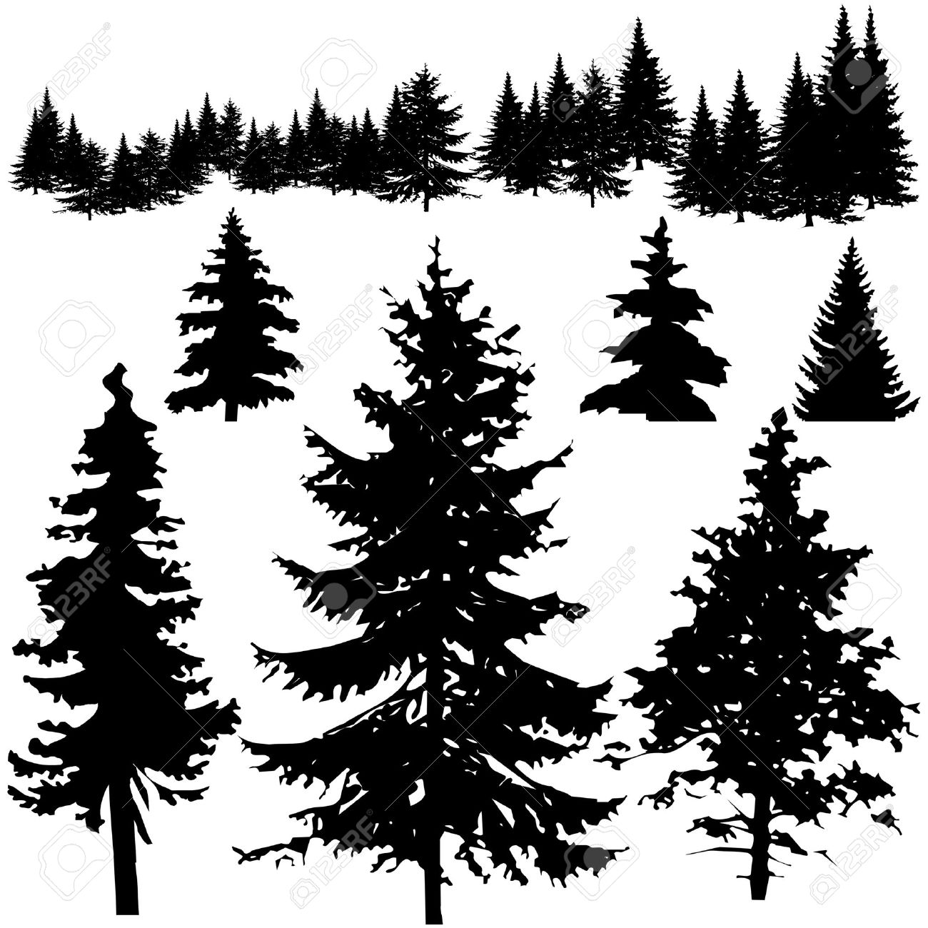 Detailed Vectoral Pine Tree Silhouettes Royalty Free Cliparts Vectors And Stock Illustration Image 4888810