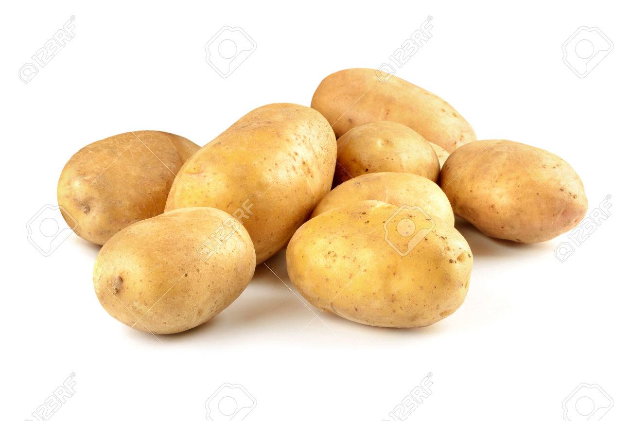 Bunch of fresh potatoes isolated on a white background. - 39553361