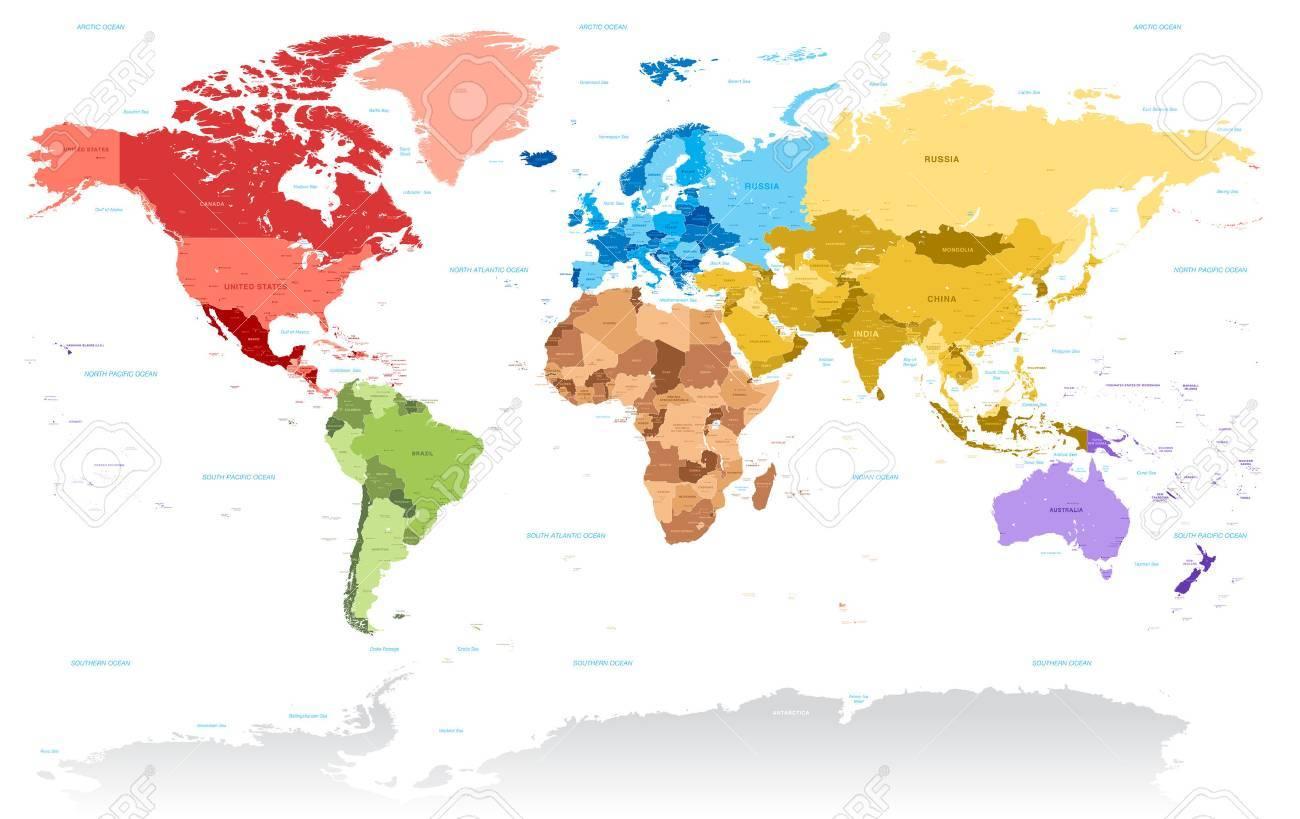 I Need A Map Of The World.A Very Highly Detailed Vector Map Of The World With All Country