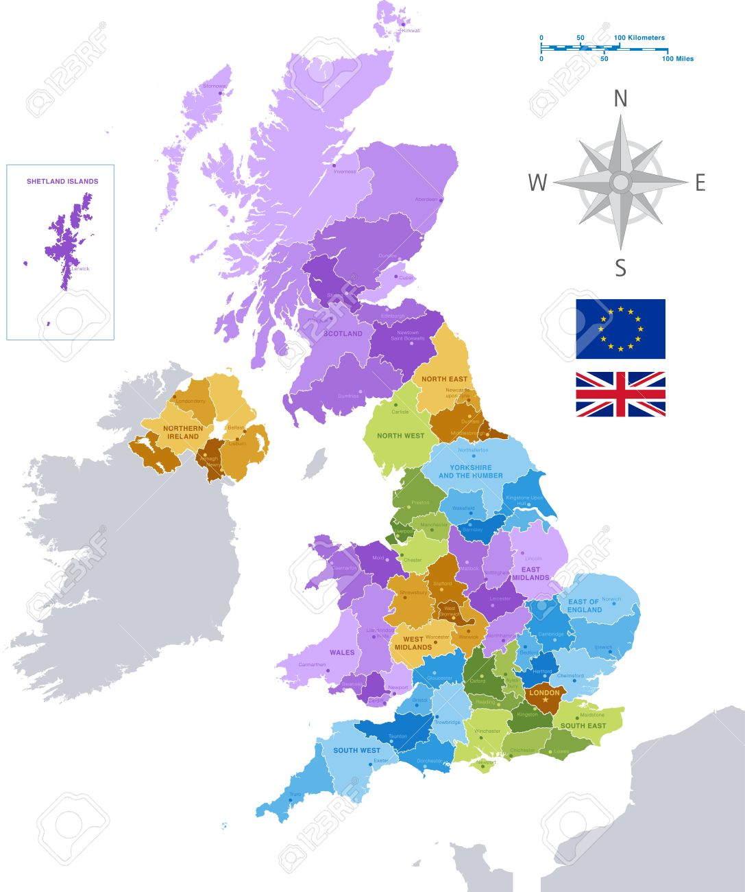 Map Of Major Uk Cities.High Detail Colorful Vector Map Of United Kingdom Regions Administrative