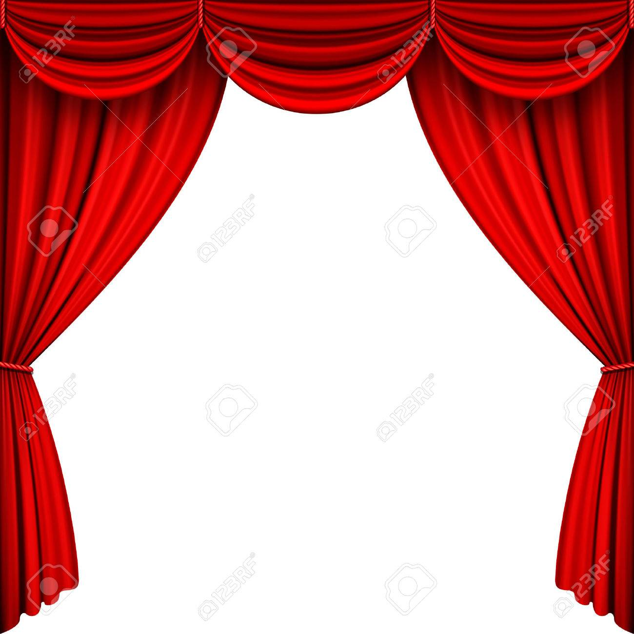 A Vector Illustrations Of Red Full Stage Curtains Stock