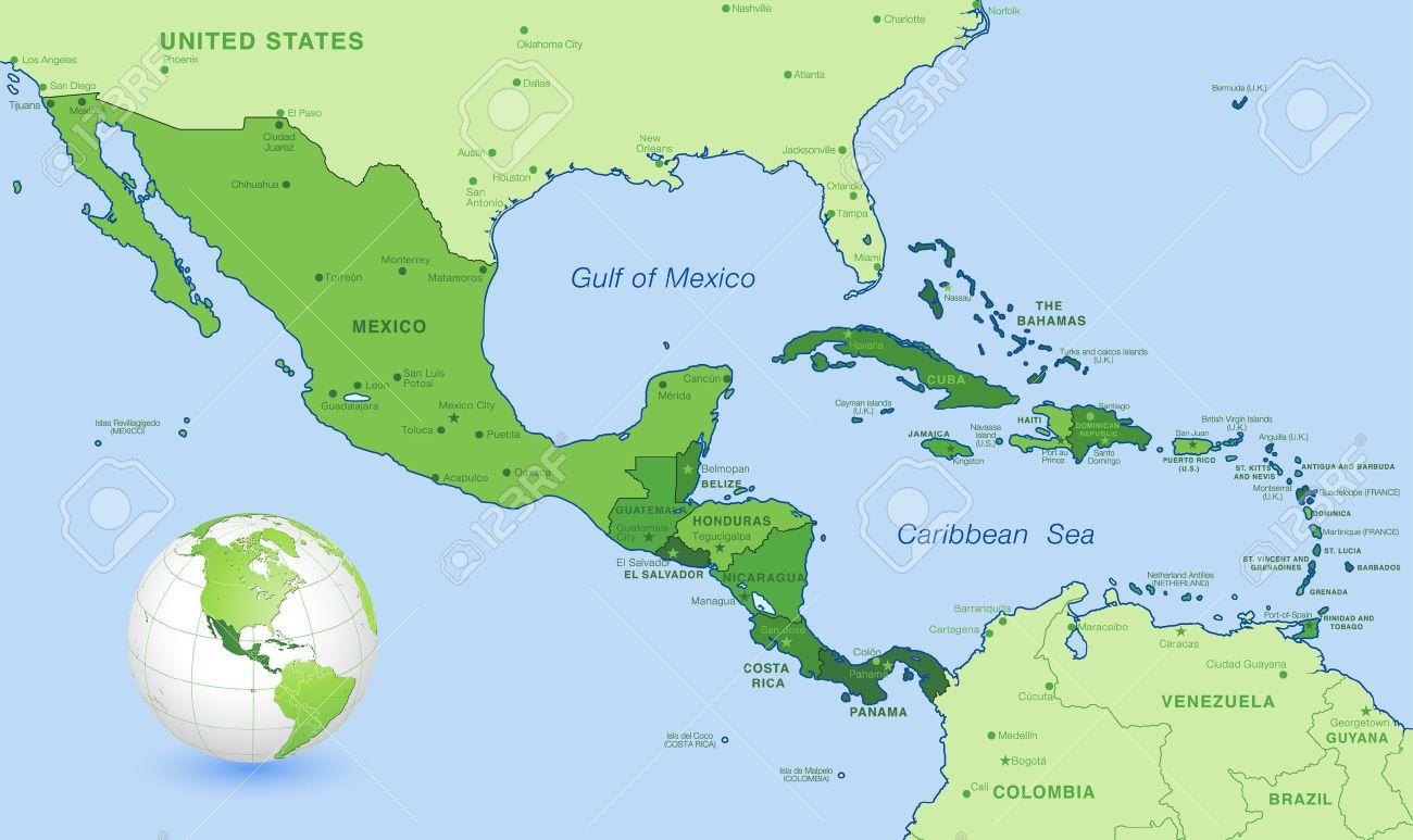 Hohe Detail Karte Von Zentralamerika Mit Einem 3d Globus Auf