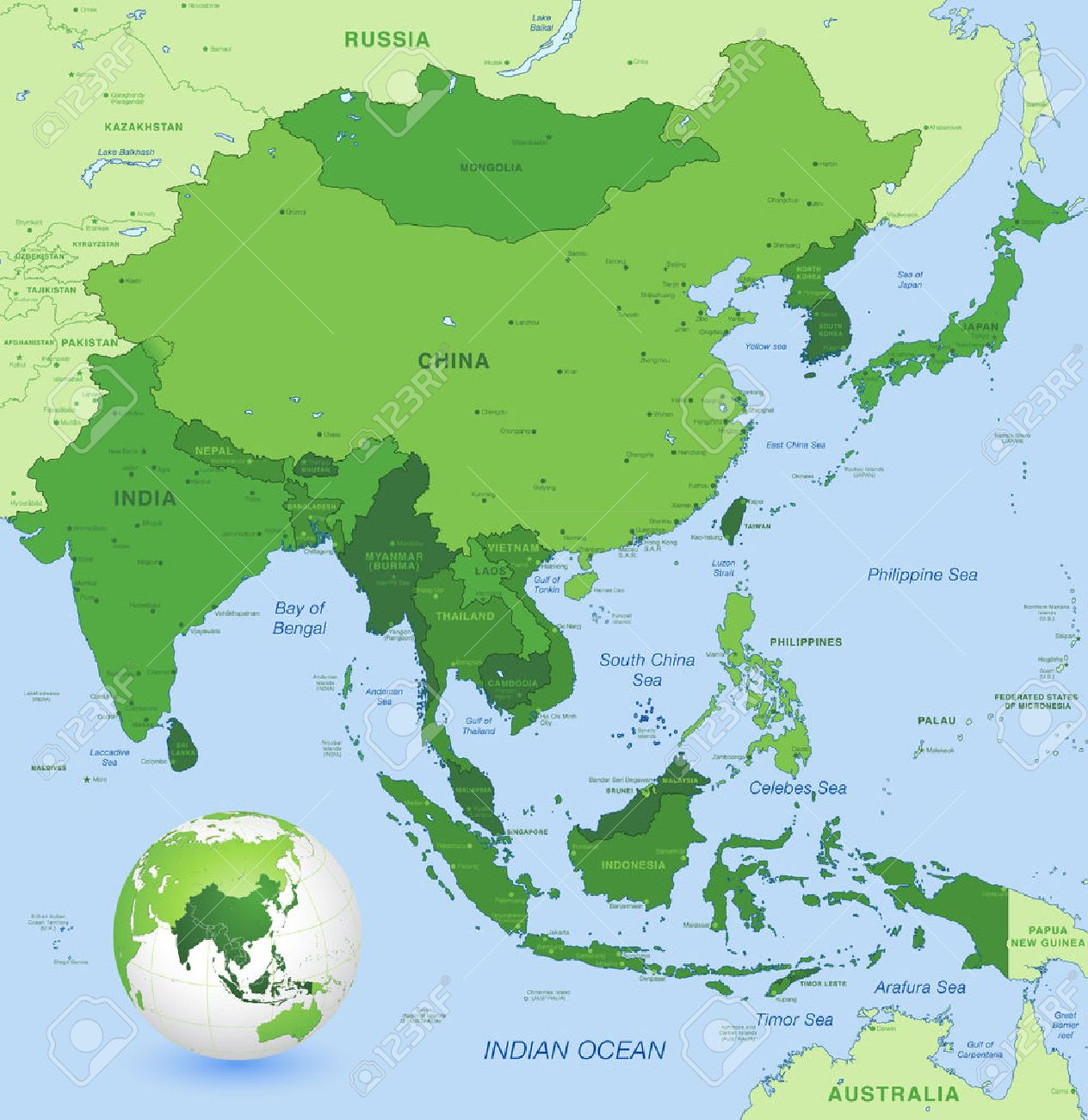high detail map of far east asia with a 3d globe centered on these countries stock