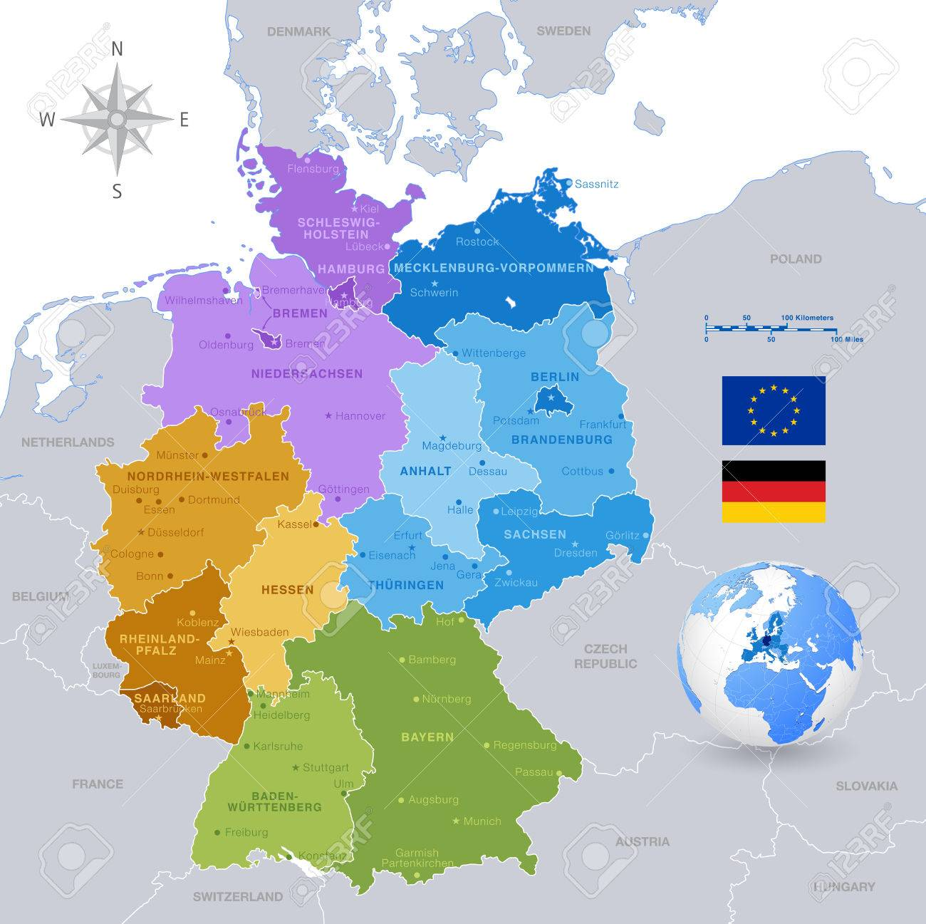 A High Detail Vector Map Of Germany States And Major Cities - Germany map states