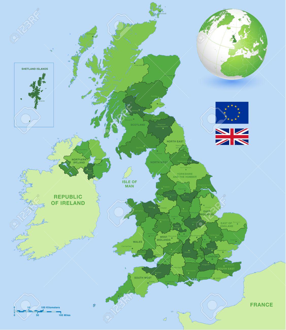 Carte Uk.Un Haut Detail Vecteur Carte De Royaume Uni Regions Les Regions Administratives Et Les Grandes Villes Et Un Globe De Vecteur Avec Uk Souligne