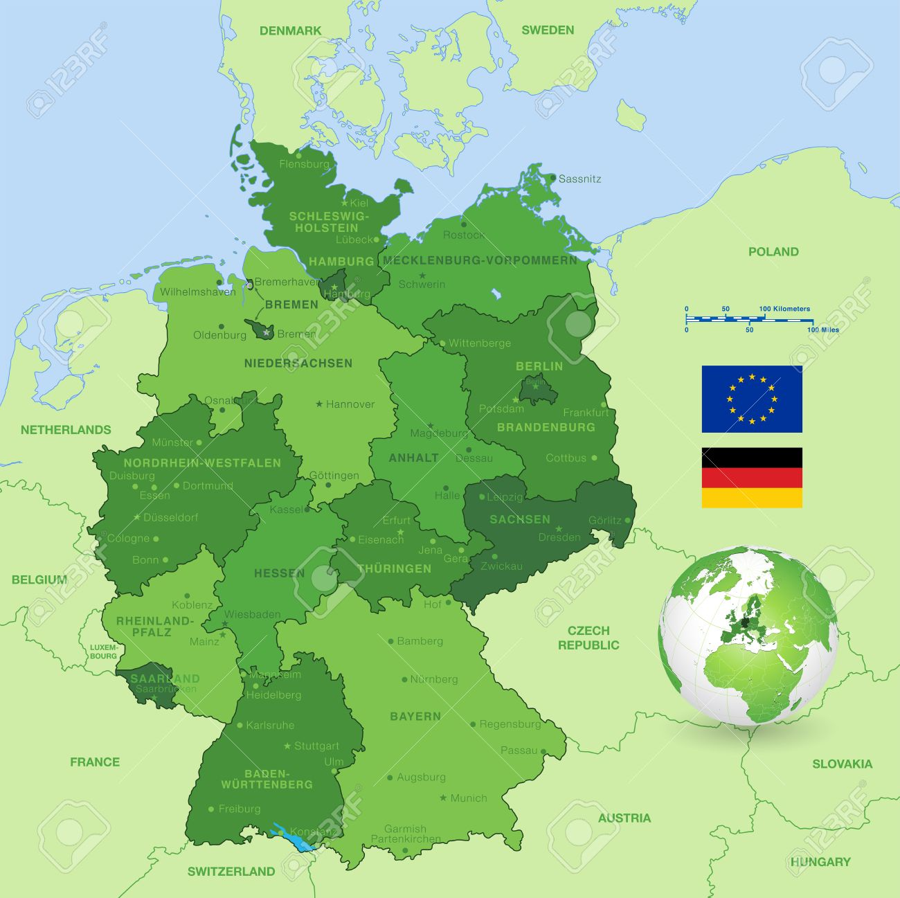 a high detail vector map of germany states and major cities with a 3d globe