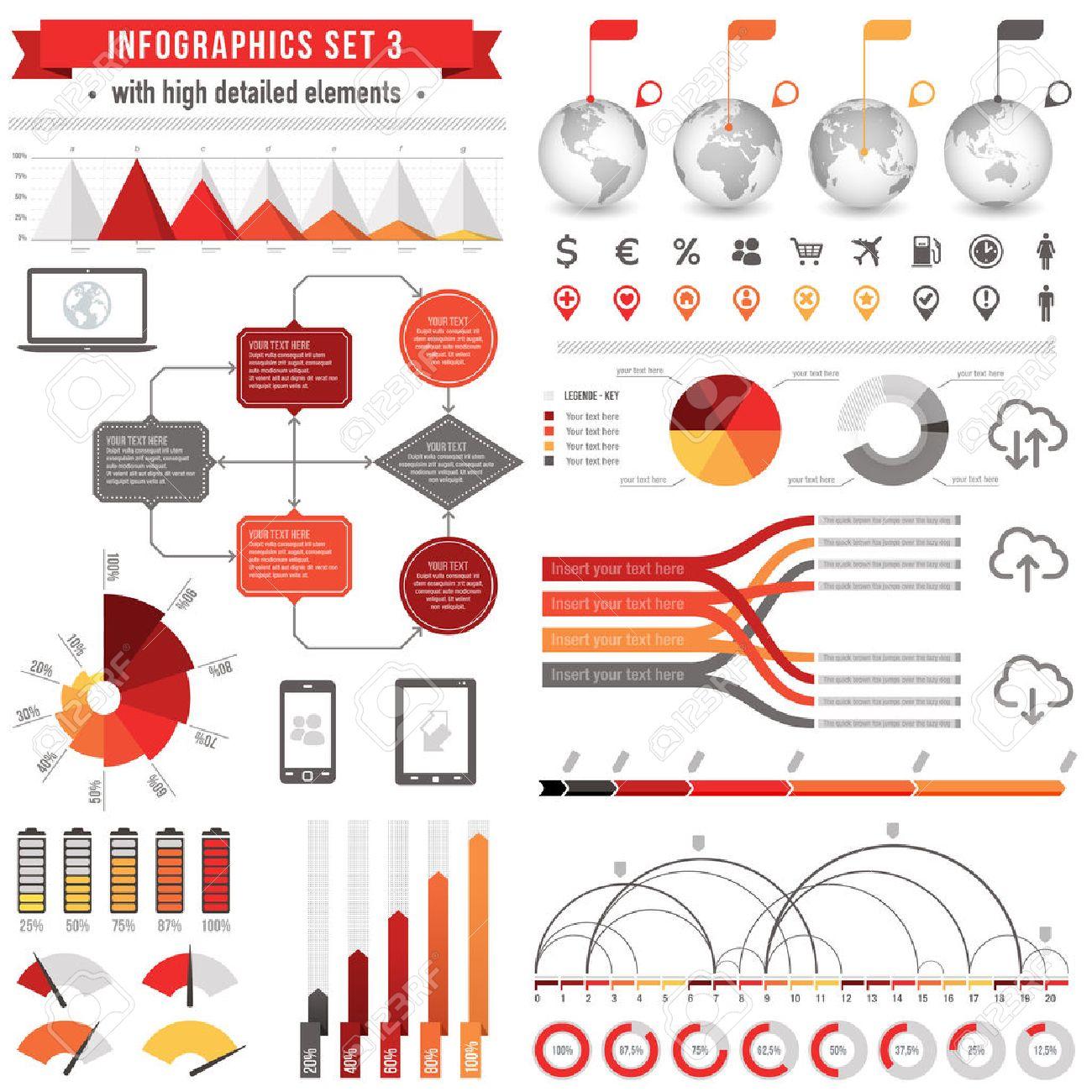Una Plantilla De Conjunto De Infografías Con: Gráficos De Barras ...