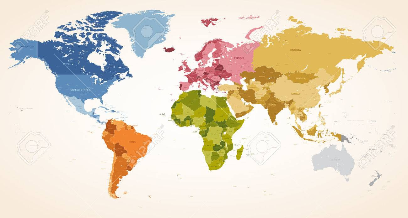 Whole Map Of The World.A Vintage Colors High Detail Vector Map Illustration Of The Whole