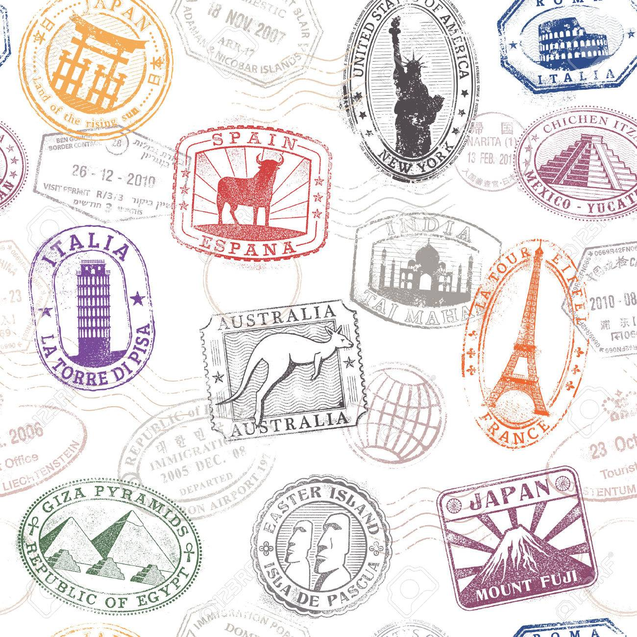 Grunge hi quality vector seamless texture pattern with monuments ad famous landmarks from all over the world Stock Vector - 42495415