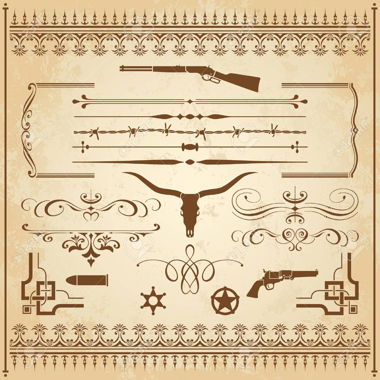 A collection of Wild West ornament, with frames, rulers, angle ornaments and cliparts. - 42558768