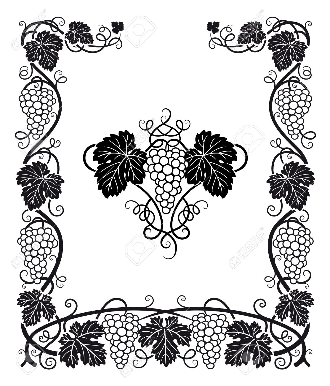 A Beautiful Frame And Center Ornament With Grapes, Vines And ...