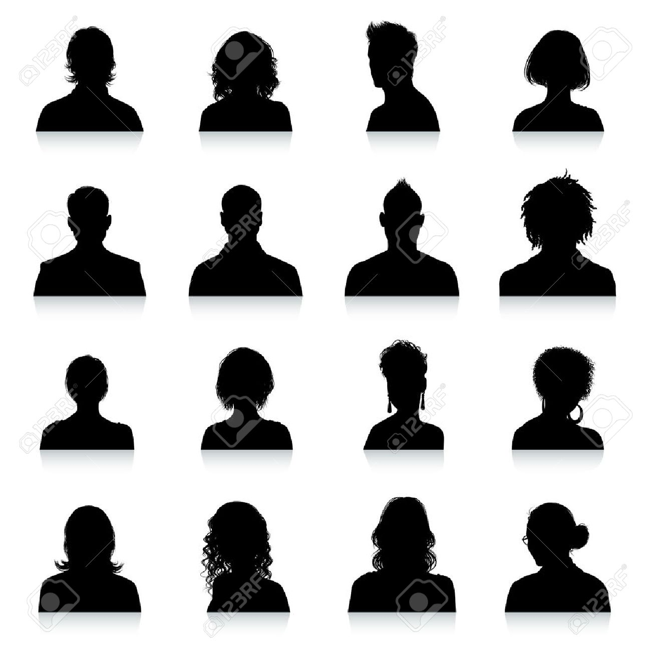 A collection of 16 high detail avatars silhouettes. - 42663157