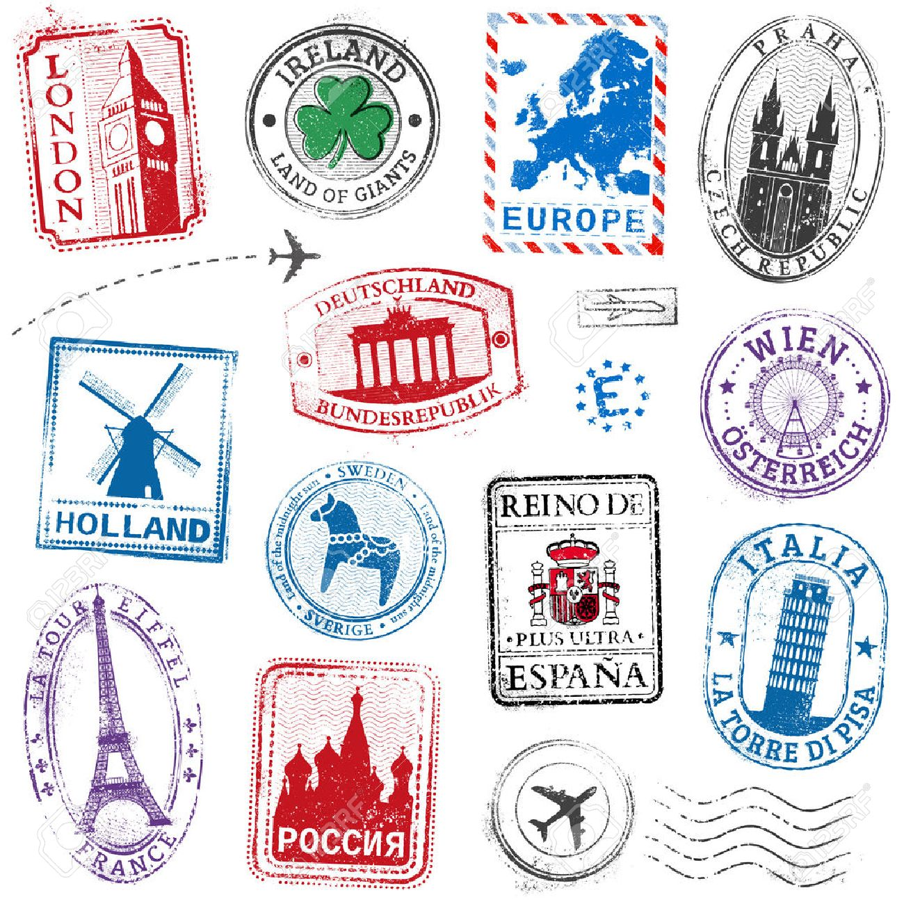 A high detail collection of Travel Stamps concepts, with traditional symbols from all major countries of Europe Stock Vector - 42663667