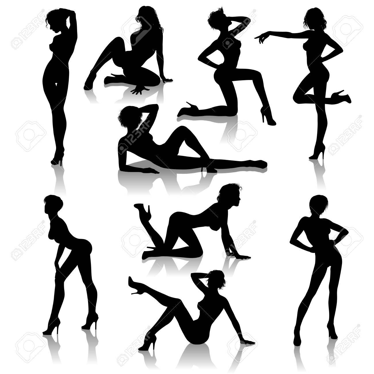a set of 9 sexy girl vector silhouettes illustrations royalty free rh 123rf com Street Style Fashion Girl Vector Girl Looking Back Vector