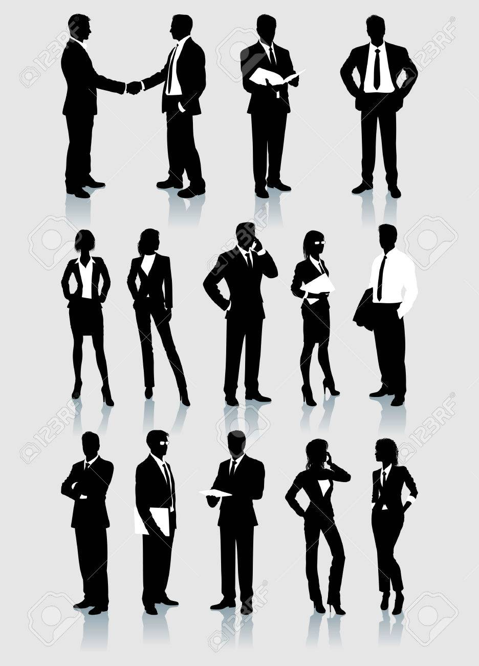 High Resolution And Detail Set Of Adult Businessmen And Women