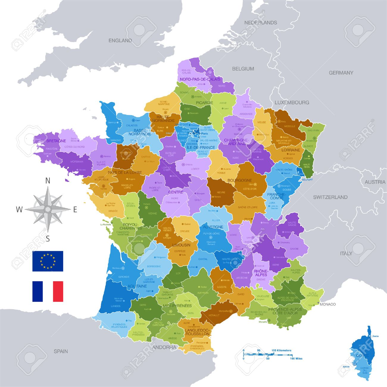 Map Of France With Regions And Cities.A High Detail Vector Map Of France Regions Departments And Major