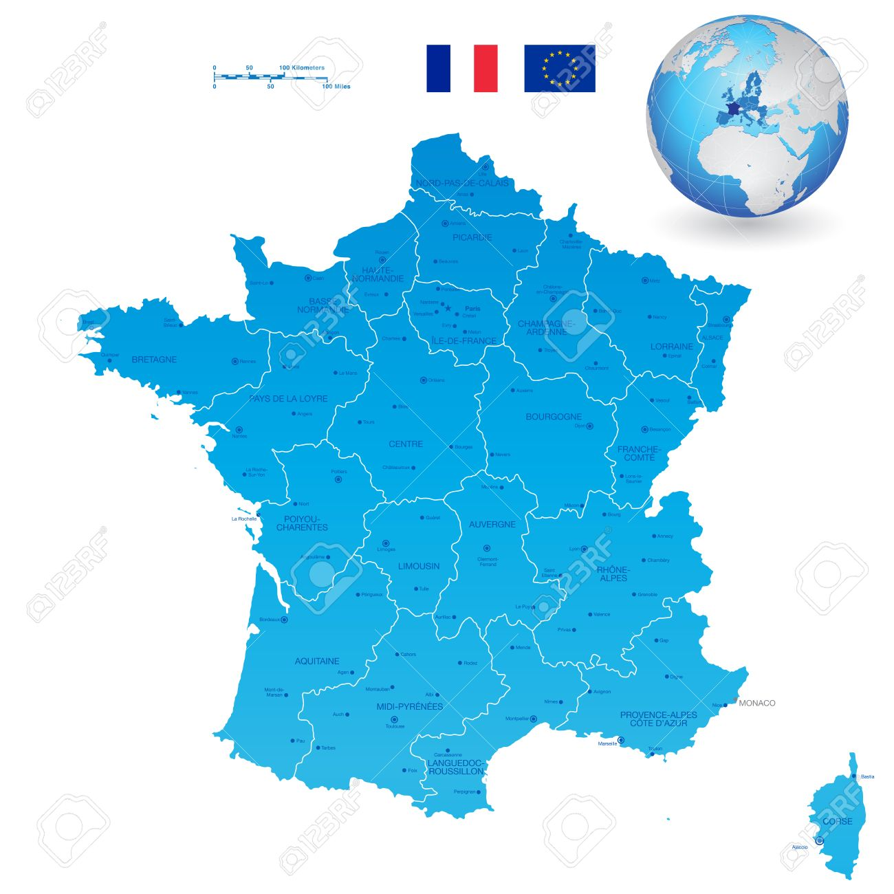 A High Detail Vector Map Of France Regions Departments And Major - Major cities in france