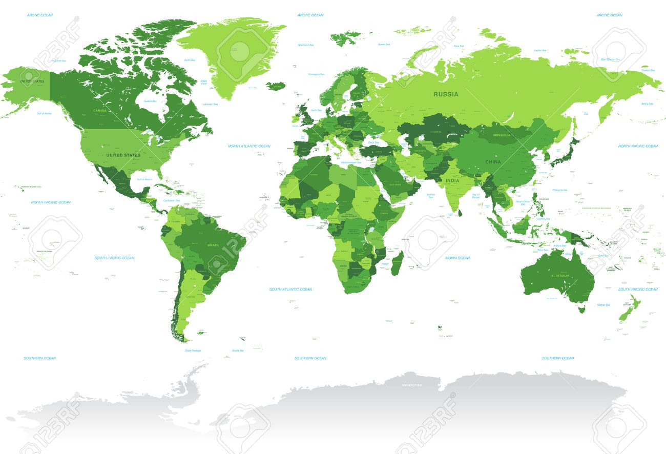 A high detail vector map of the world in shades of green all a high detail vector map of the world in shades of green all countries are gumiabroncs Images