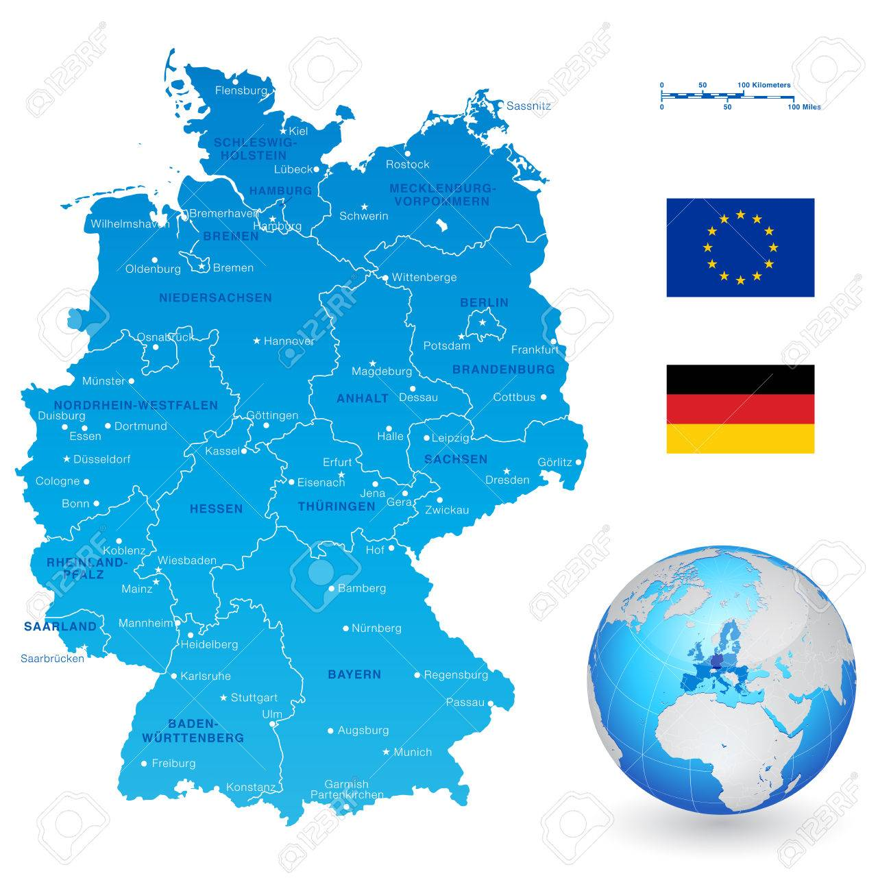 Map Of Germany With States And Cities.A High Detail Vector Map Of Germany States And Major Cities