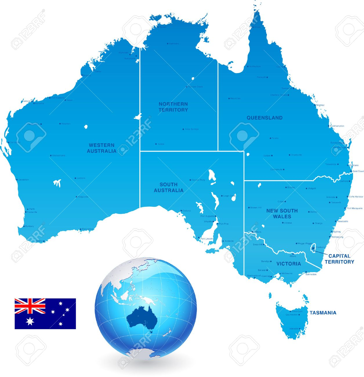 Major Cities In Australia Map.High Detail Vector Map Of Australia With States And Major Cities
