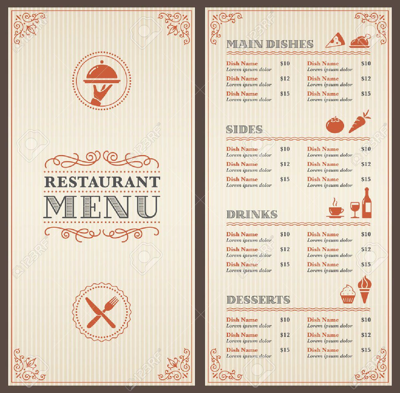 Un Restaurante Clásico De Plantillas De Menú Con Bonitos Iconos En ...