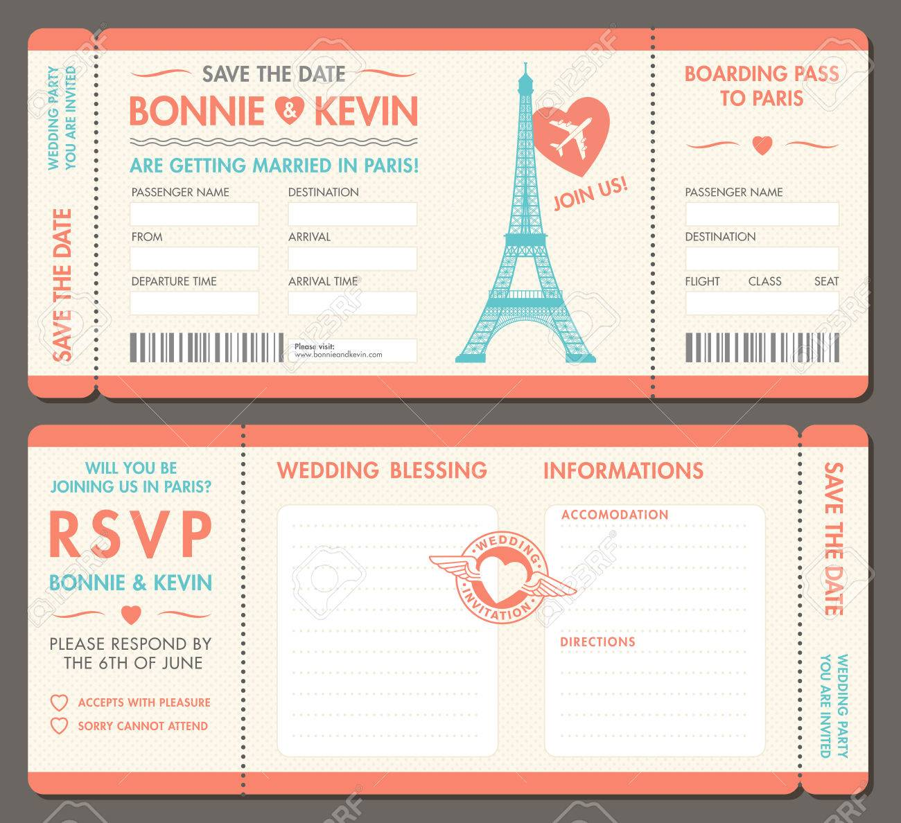 Hi Detail Vector Grunge Tickets For Wedding Invitations And Save