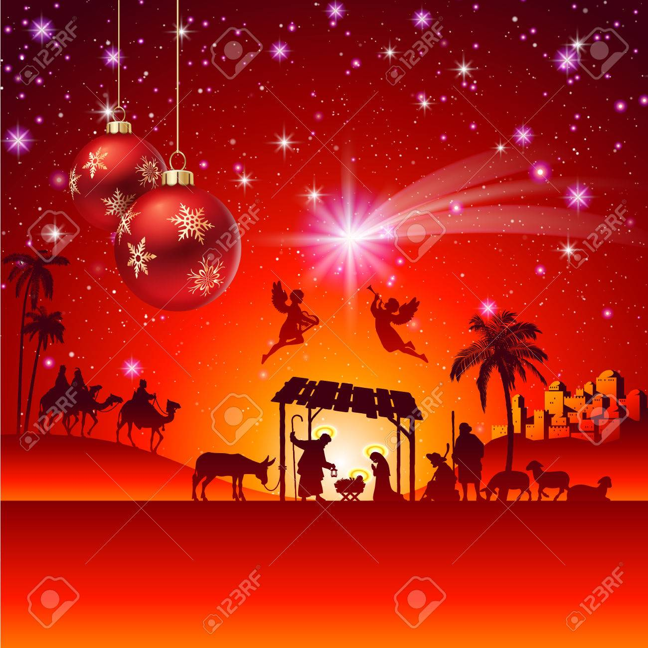 High detail Vector nativity Christmas Scene. - 44587268