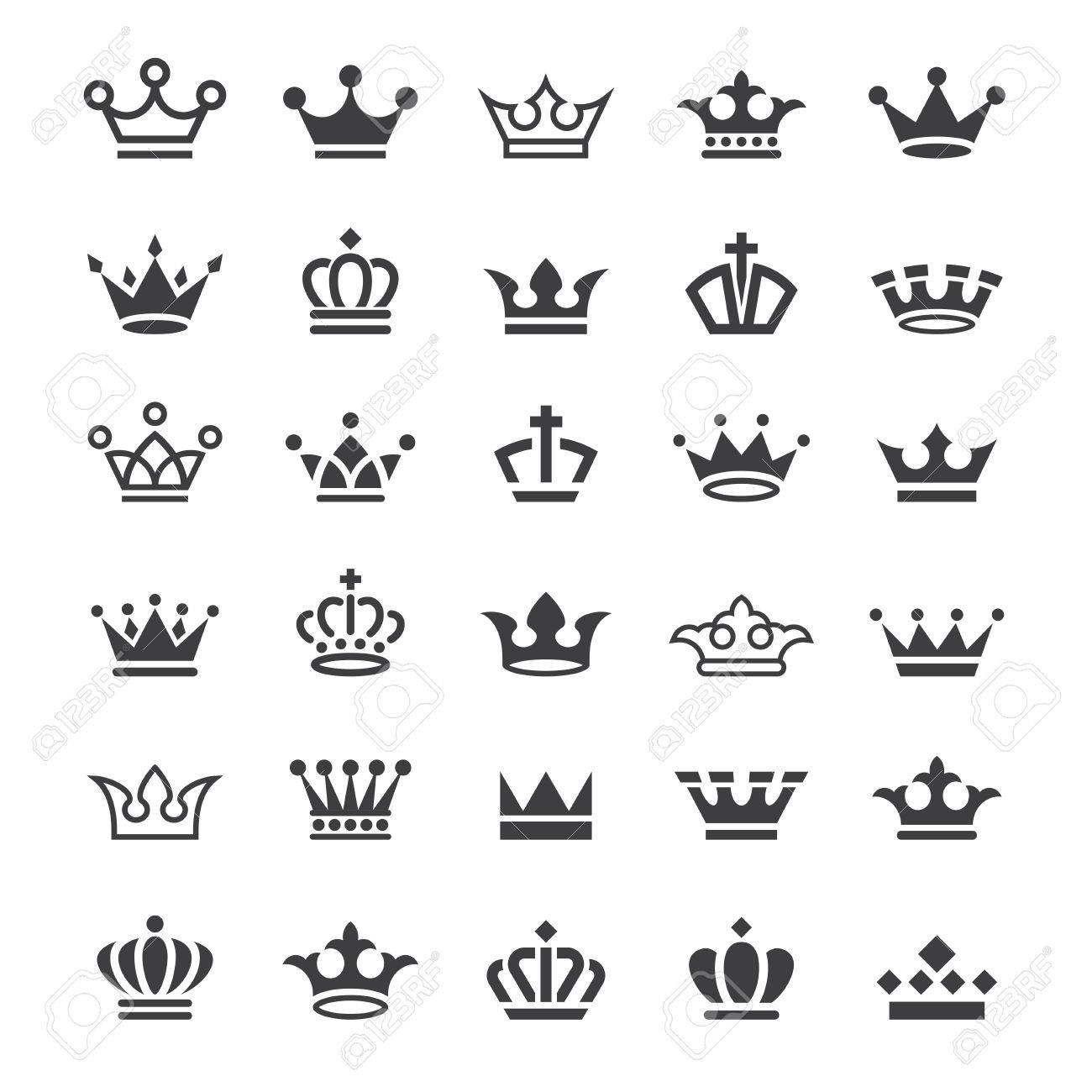 Gran Colección De Simples Iconos En Blanco Y Negro De La Corona De