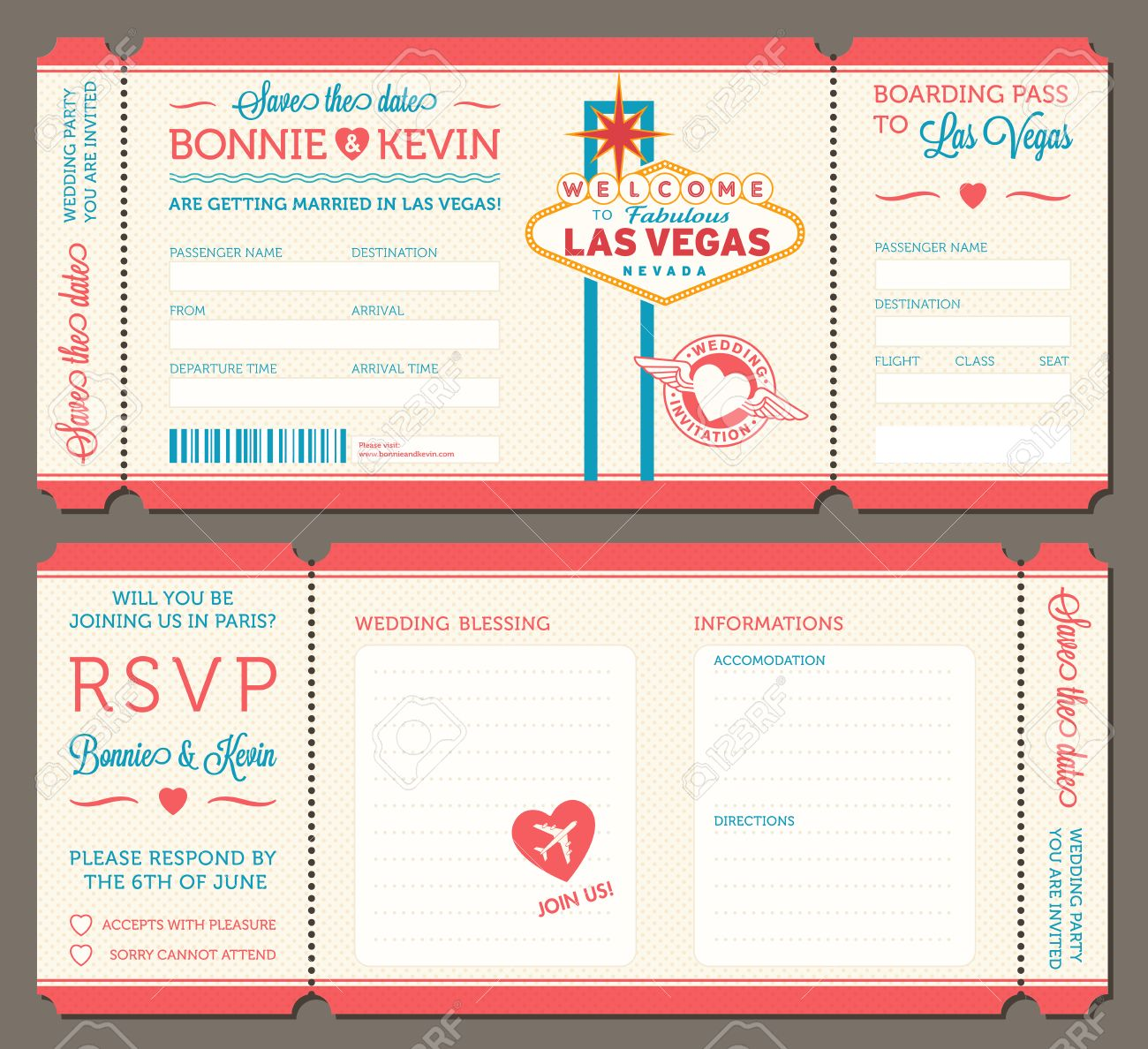 3 Hi Detail Vector Grunge Tickets For Wedding Invitations And ...