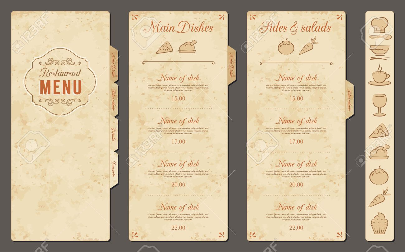 a classic restaurant menu template with nice food icons in an