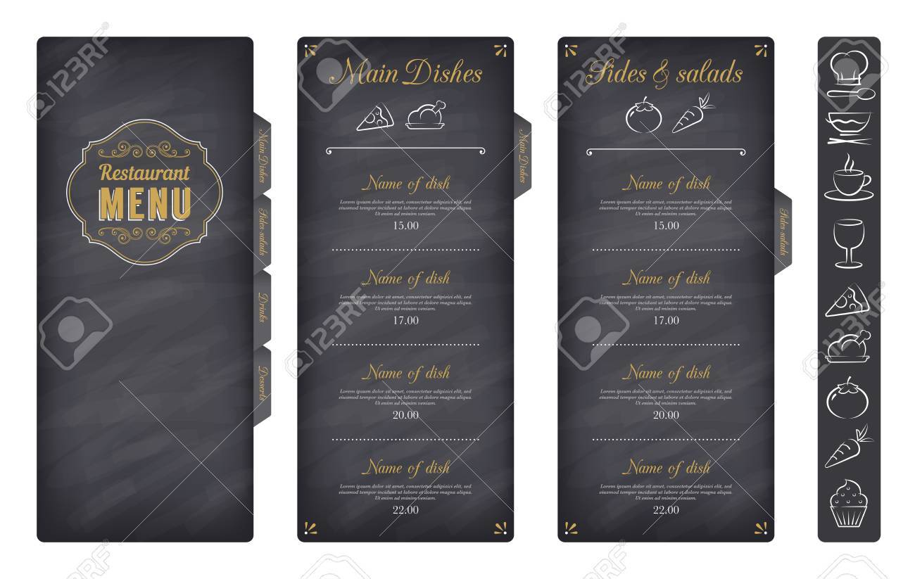 A Classic Restaurant Menu Template With Nice Food Icons In An ...