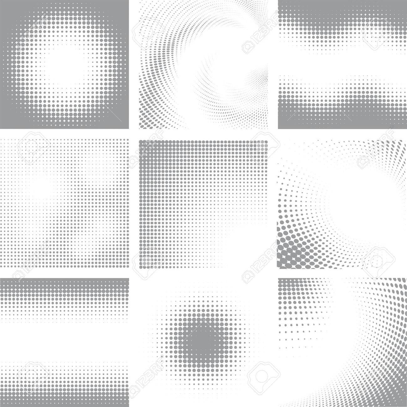 Collection of nine white and grey halftone shapes - 48061483