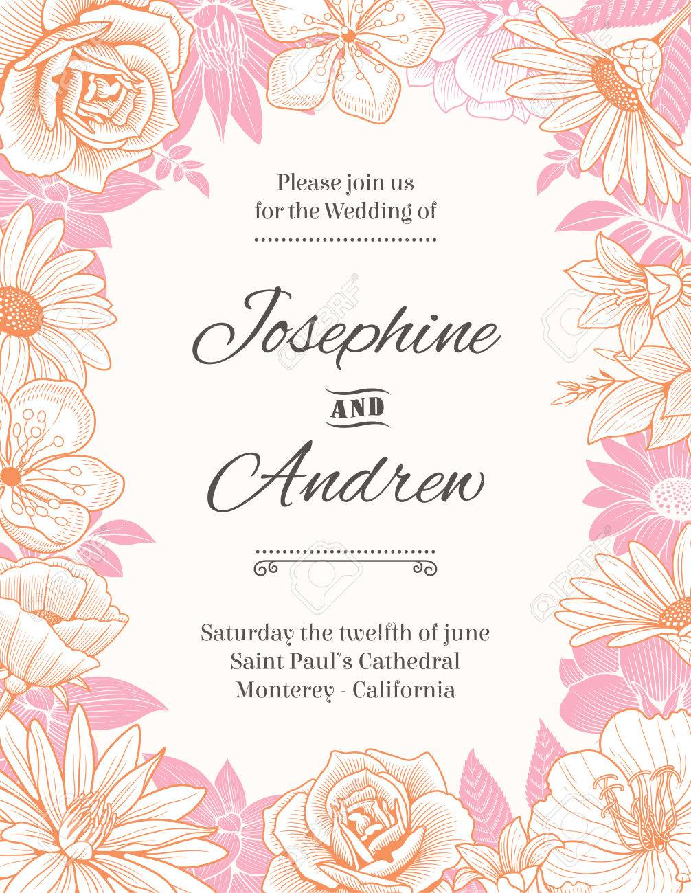 Vector Wedding Invitation Template With A Frame Composed Of Detailed ...