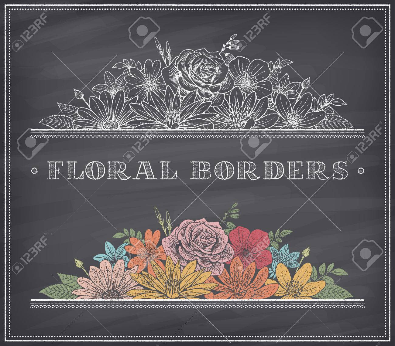 Border Decoration Composed Of Detailed Colorful Flowers Illustrations With  Chalk Drawing Effect On A Nice Shaded