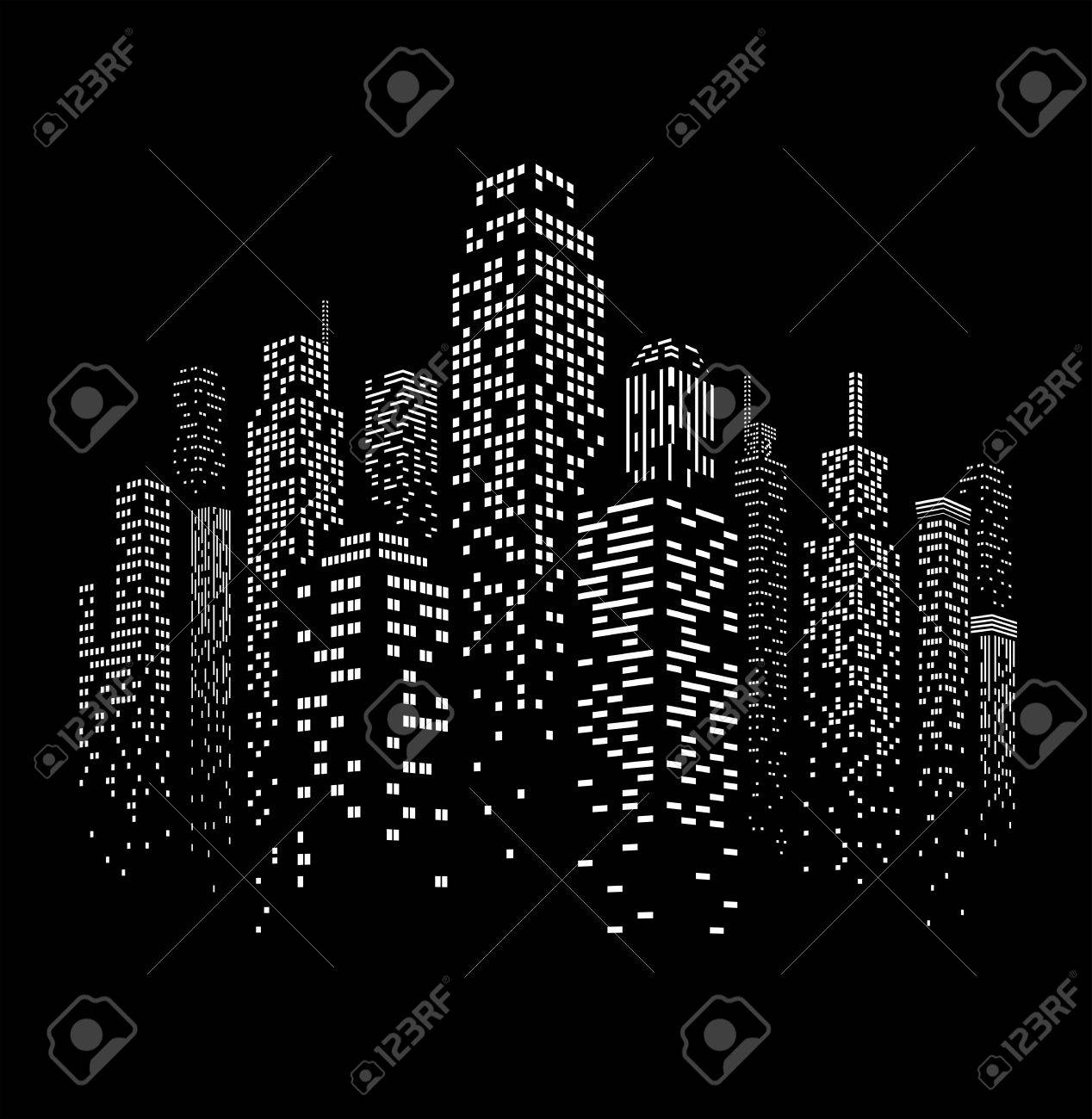 Vector illustration of black and white skyscrapers, with black buildings and white windows. All windows shapes are present so you can easily edit window colors. - 59832403