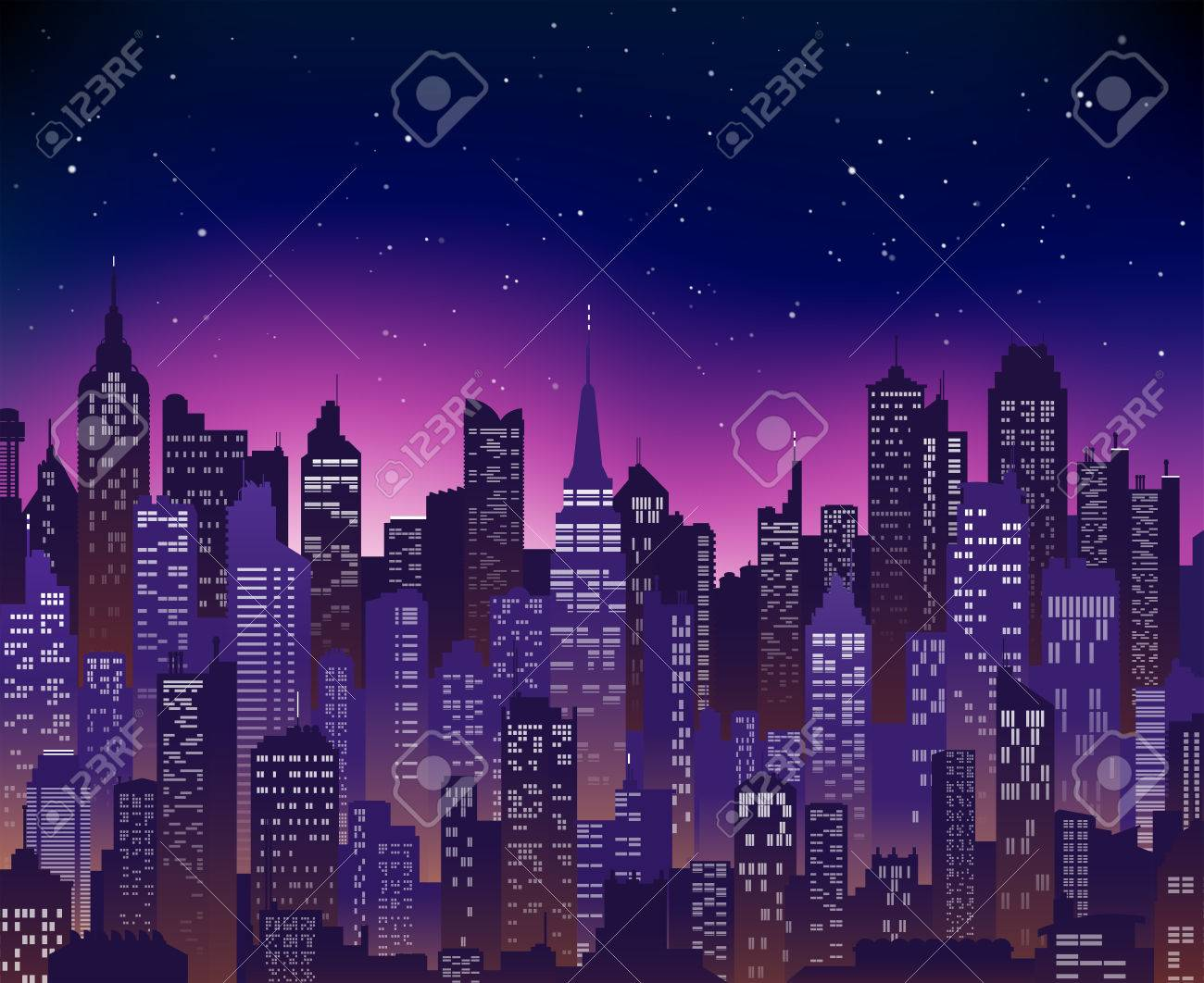 blue purple high detail background of a city sunset view composed of lots of illustrations