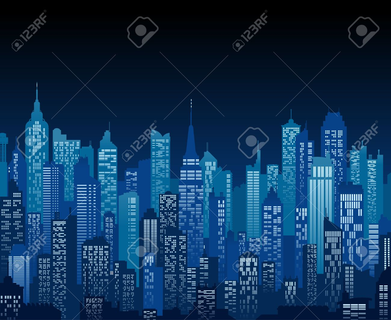 Blue high detail background of a city night view composed of lots of illustrations of generic buildings and skyscrapers - 61052841