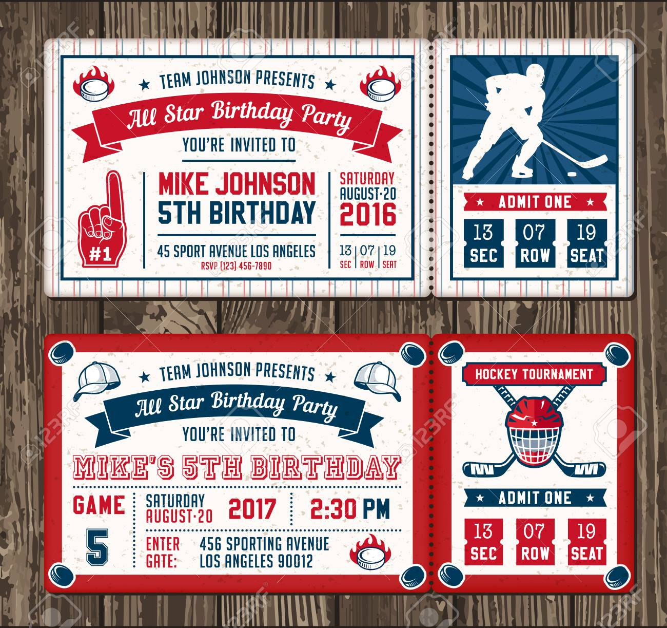 Colorful Vector Template Tickets For Hockey Theme Party Invites ...